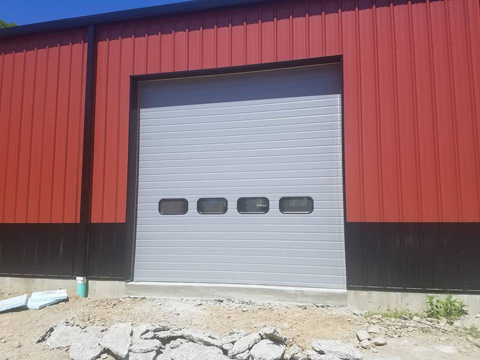 Commercial garage door, grey